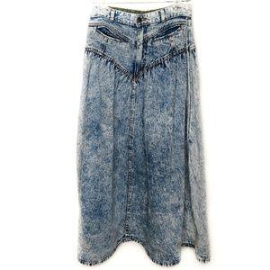 Vintage 80's Jordache Acid Wash Denim Jean Skirt